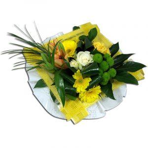 Bouquet jaune de lys et de roses  Généreux Bouquets