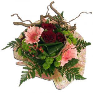 Bouquet rond de roses rouges et gerberas roses  Généreux Bouquets