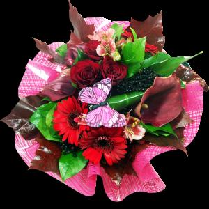 Bouquet tons rouges arums et roses rouges  Généreux Bouquets