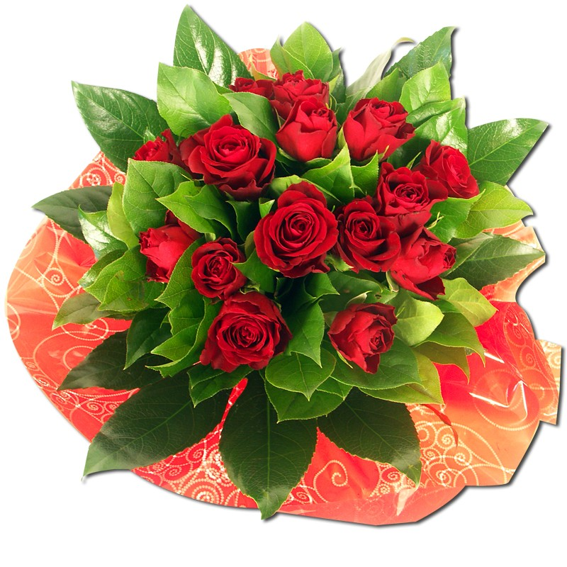 Capri Bouquet composé deroses rouges avec feuillage.  Fleurs Saint Valentin