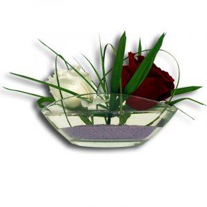 Coupe Ovale Coupe Ovale en Verre avec deux Roses de deux couleurs