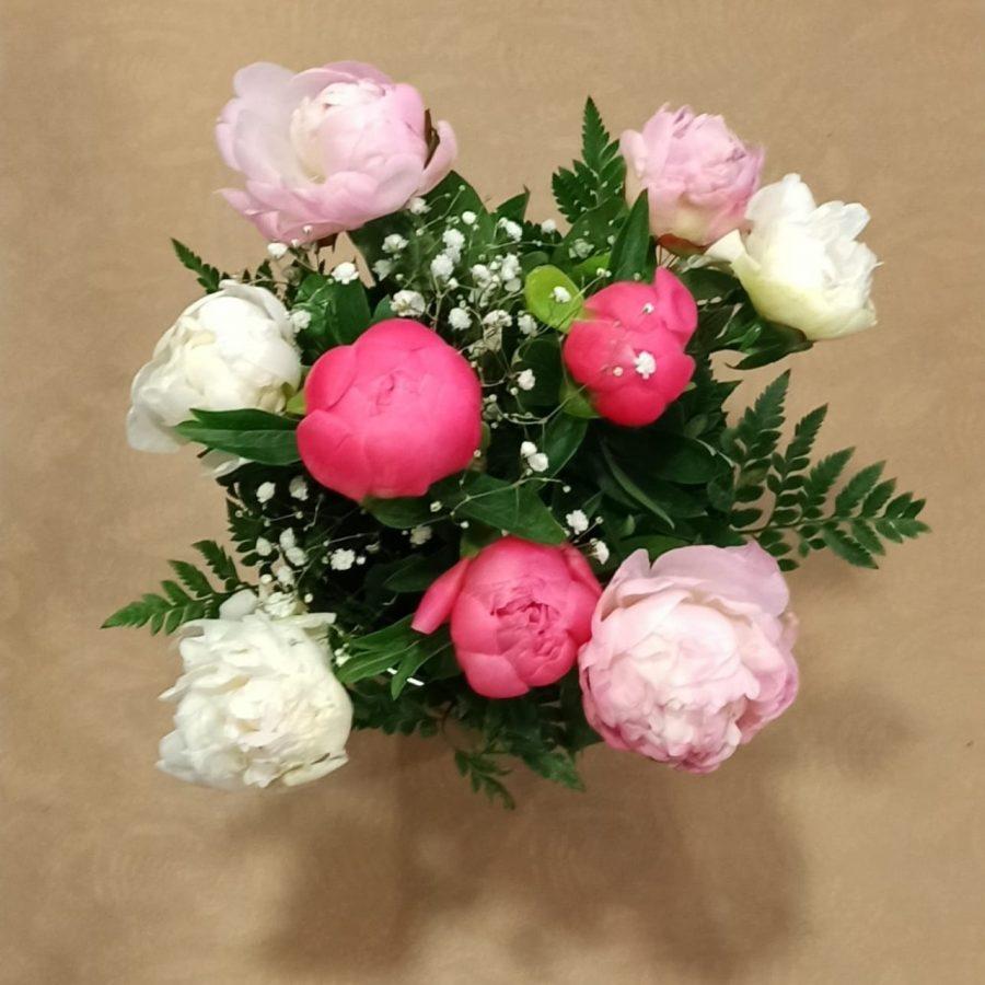 bouquet de pivoines multicolores