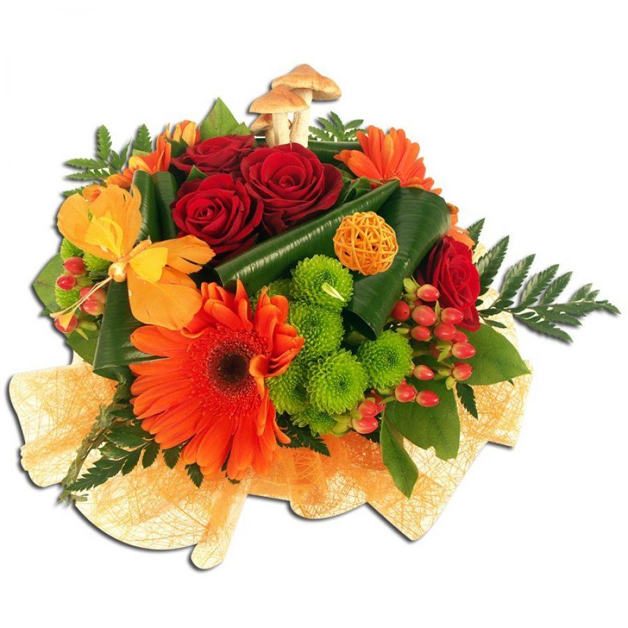 Bouquet rond roses rouges et tons orangés  Généreux Bouquets
