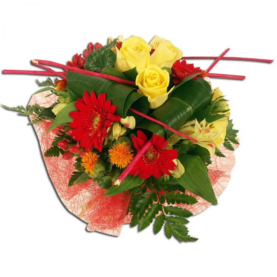 Bouquet soleil rouge de germinis et roses Bouquet rond composé de germinis
