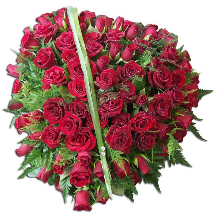 Coeur de Roses-deuil 60 cm Par Occasion Deuil