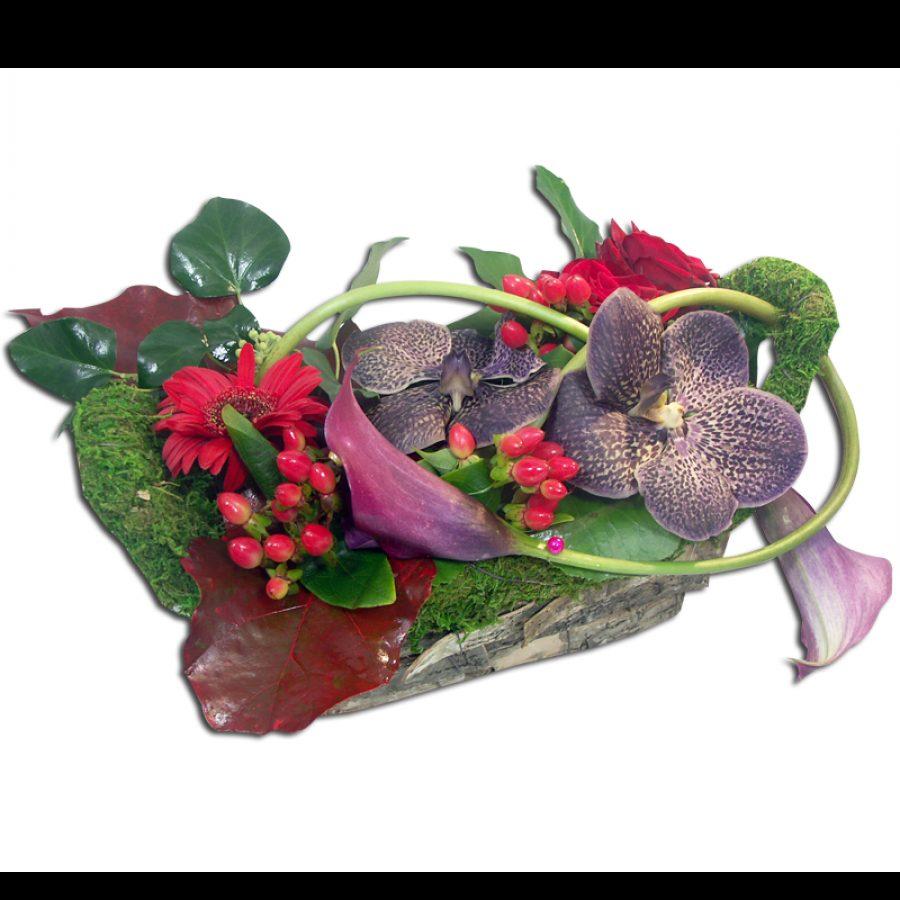 Composition de fleurs Harmony Association de fleurs ton violet et rouge vif avec des orchidées