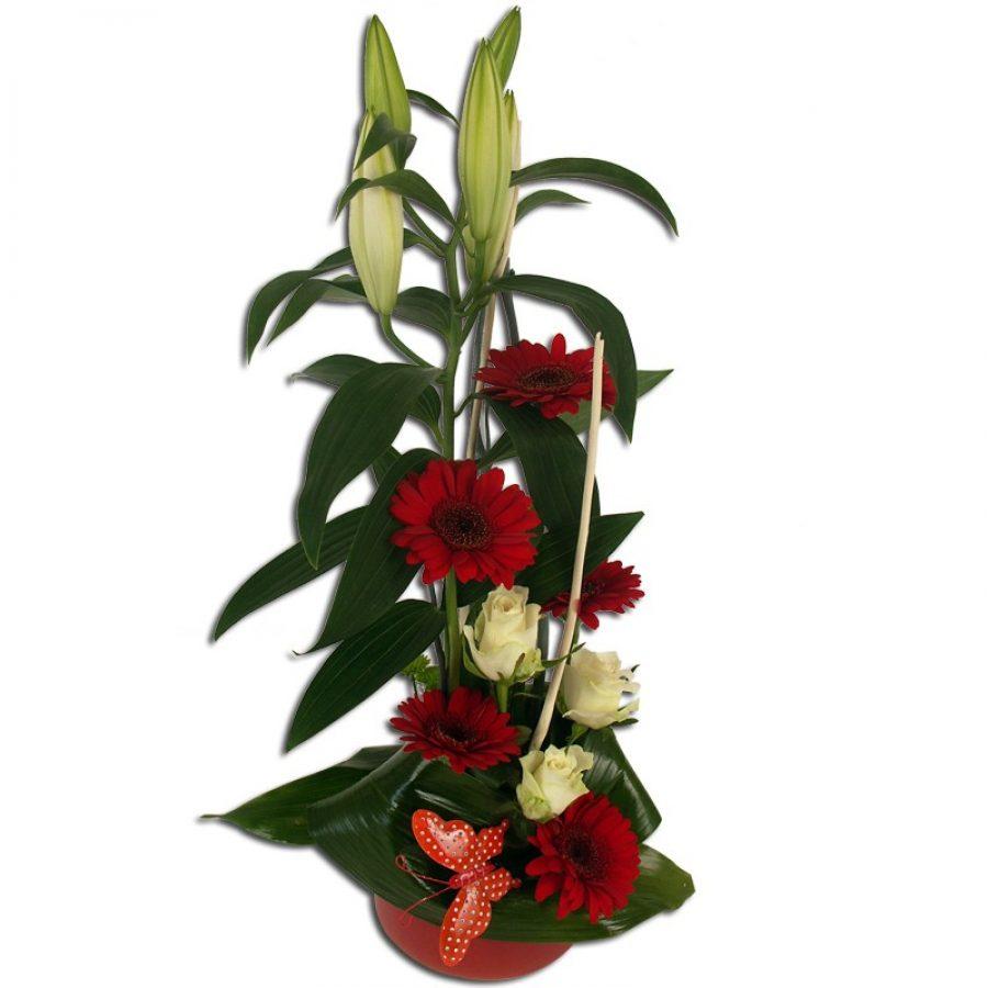 Confidence Composition florale classique de fleurs rouge et blanche. Un cadeau chic et raffiné Par Occasion Amour