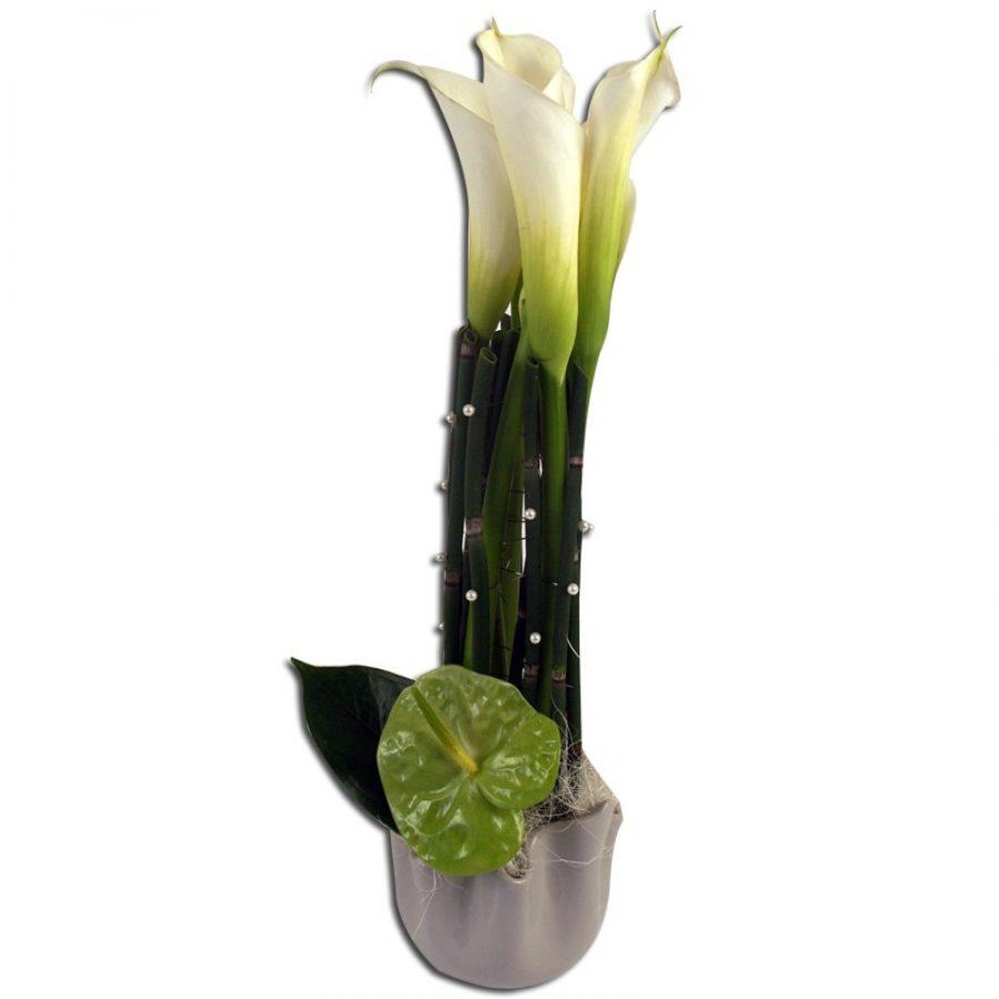Elegance raffinée Composition d'arums et anthuriums brodés de perles.  Par Occasion ></noscript> Anniversaire