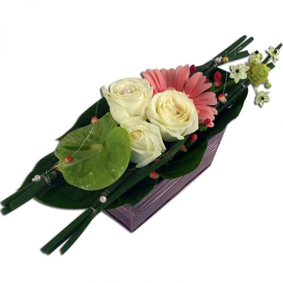 Emoi Jardinière zinc contenant roses