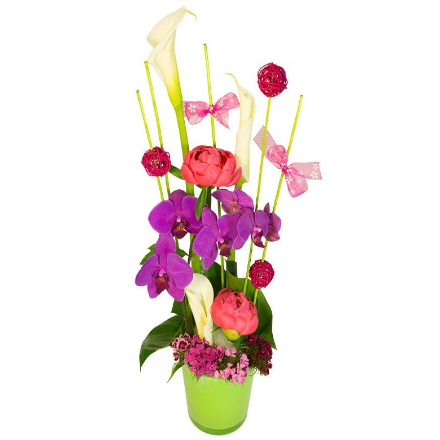 Maman Composition mêlant orchidées